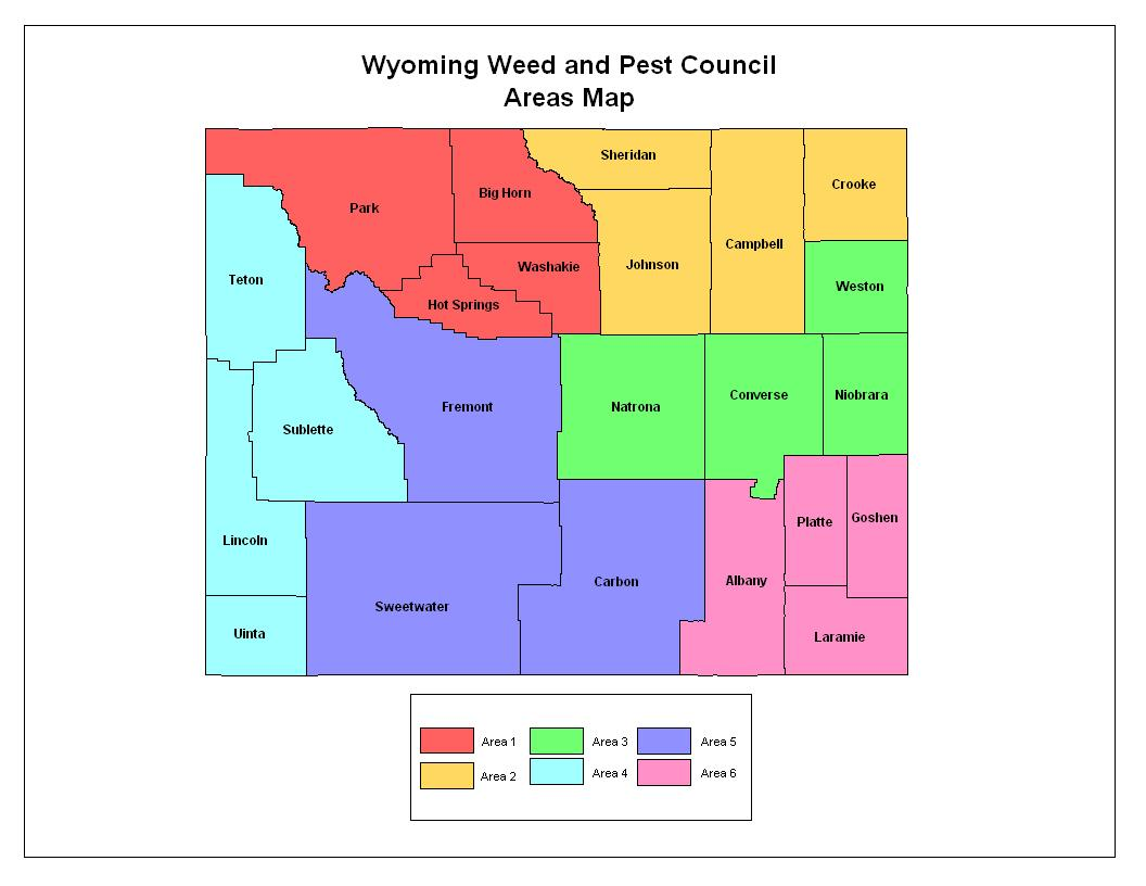 Wyoming Weed and Pest Council Areas Map